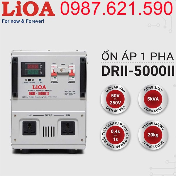 Ổn áp LiOA 5KVA dải 50V