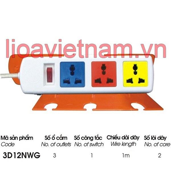 Ổ cắm Lioa 3 lỗ 3D12NWG