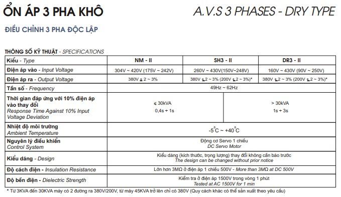 Thông số kỹ thuật ổn áp LiOA 3 pha