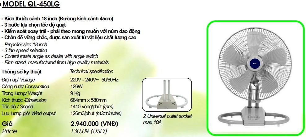 Quạt LiOA QL-450LG