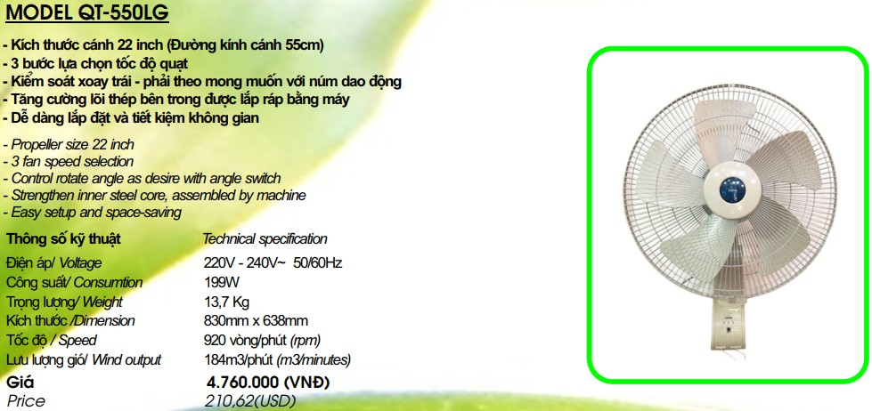 Quạt LiOA QT-550LG
